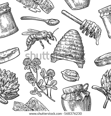 Seamless Pattern With Honey Bee Hive Clover Spoon Cracker Bread