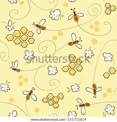Seamless pattern with honey bees in a honeycomb - stock vector