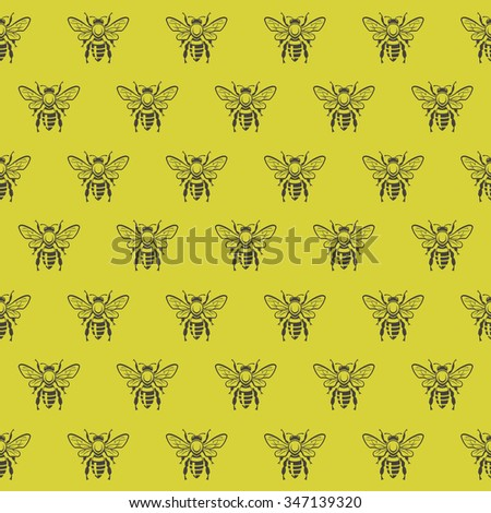 seamless pattern with honey bees on a yellow background - stock vector