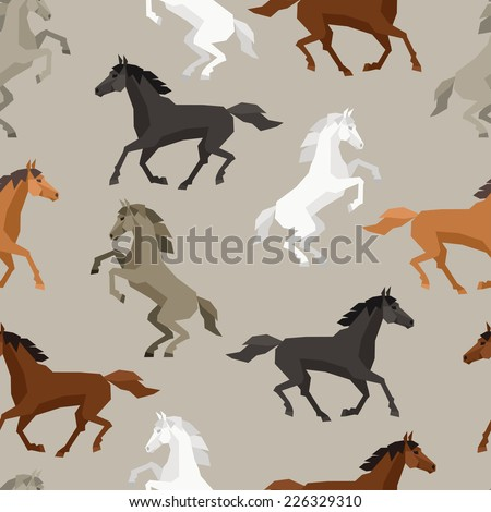 Seamless pattern with horse in flat style. - stock vector
