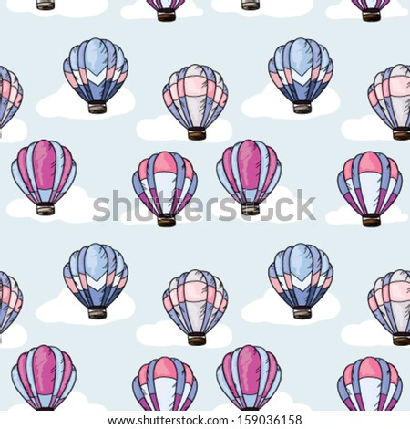 Seamless pattern with hot air balloons - stock vector