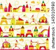 Seamless pattern with houses for childrens background. Seamless pattern can be used for wallpaper, pattern fills, web page background, surface textures - stock photo