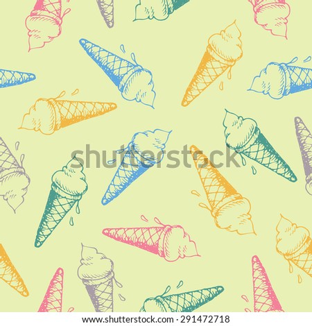 seamless pattern with ice cream cones hand drawn in vector.ice cream seamless