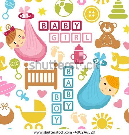 seamless pattern with icons and babies in bag - vector illustration, eps