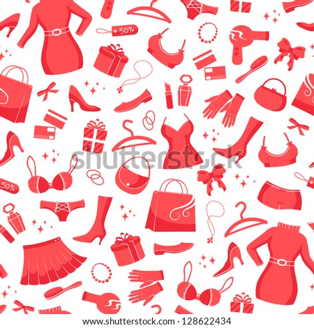 seamless pattern with icons of fashion and shopping (JPEG available in my gallery) - stock vector