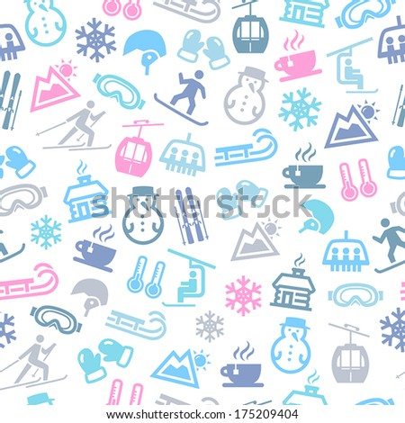 Seamless Pattern With Icons Representing Winter And Winter Sports. - stock vector