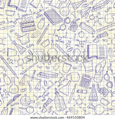 Seamless pattern with illustration of education, knowledge design element collection, written on blackboard