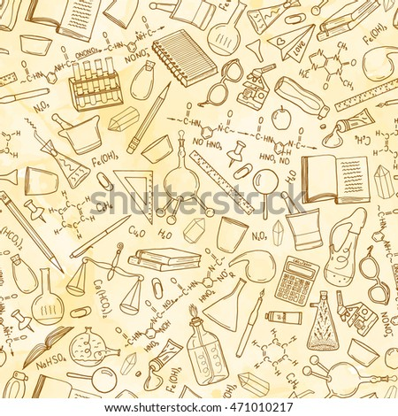 Seamless pattern with illustration of education, knowledge design element collection, written on old paper
