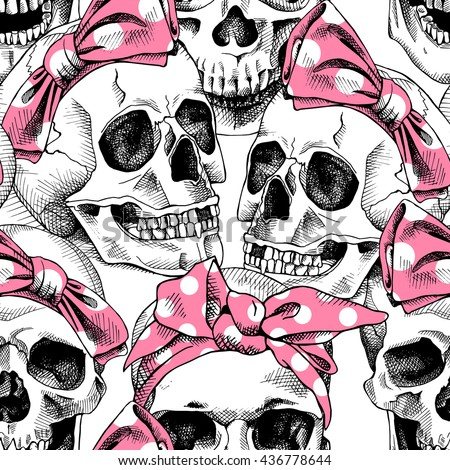 Seamless pattern with image a skull in a pink headband. Vector illustration. - stock vector