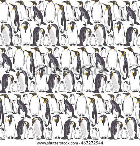 Seamless pattern with image of a many Emperor penguin on a white background. Vector illustration.