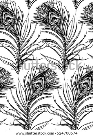 Seamless pattern with image of a Peacock feather. Vector black and white illustration.