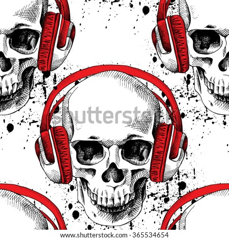 Seamless pattern with image of a skull in headphones on white background. Vector illustration. - stock vector