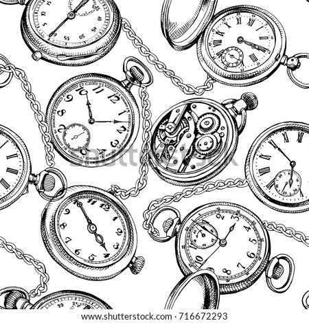 seamless pattern image vintage pocket watch stock vector