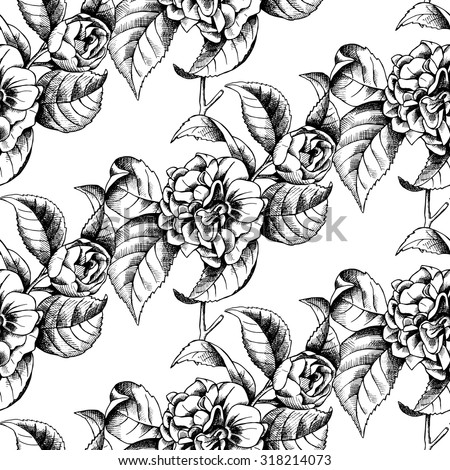 Seamless pattern with image of branch camellia flower. Vector black and white illustration.