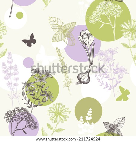 Seamless pattern with ink hand drawn medicinal herbs and flowers. Abstract vintage floral background - stock vector