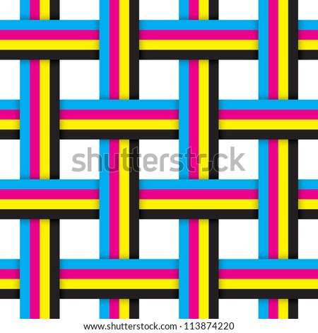 Seamless pattern with intersecting cmyk ribbons. Vector illustration. - stock vector