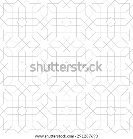 Seamless pattern with intersecting straight lines forming polygons and stars. Abstract pattern in Arabic style. - stock vector