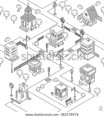 Seamless Pattern With Isometric City Black And White Vector Illustration Cinema Cottage