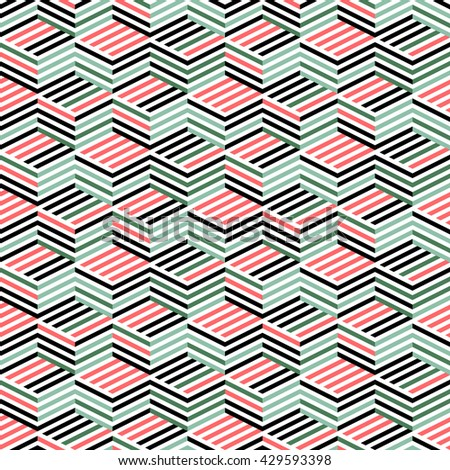 Seamless pattern with isometric lines. Background of geometric shapes. Colorful mosaic pattern. Simple three-dimensional ornament. Abstract graphic structure. Textile print with the illusion of a cube - stock vector