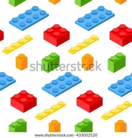 Seamless pattern with isometric plastic blocks. 3d vector symbols. - stock vector