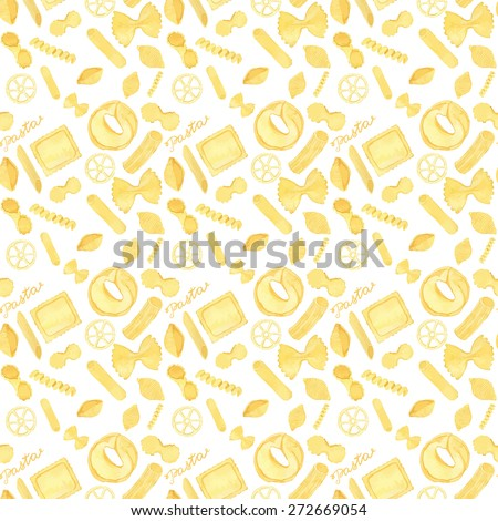 Seamless pattern with Italian pasta. Real watercolor drawing. Vector illustration. Traced painting - stock vector