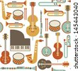 seamless pattern with jazz instruments. isolated on white - stock