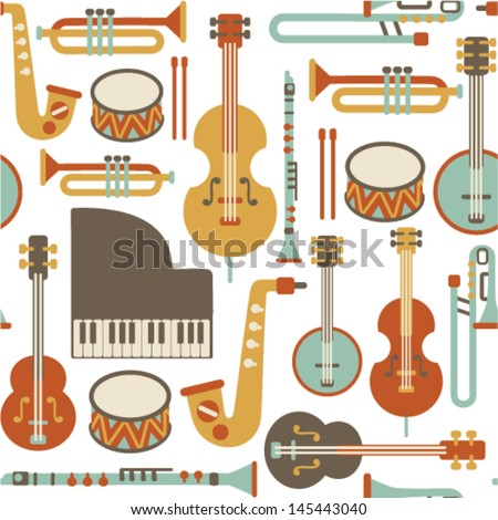 seamless pattern with jazz instruments. isolated on white - stock vector