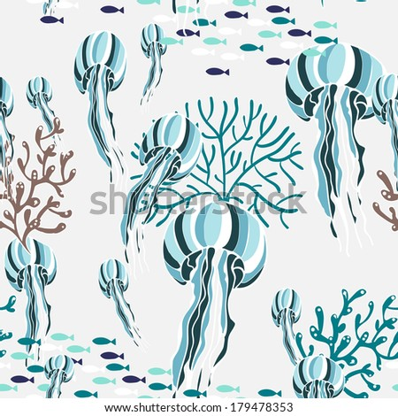 Seamless pattern with jellyfish in vector