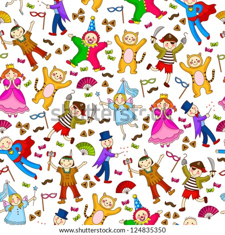 seamless pattern with kids wearing costumes (JPEG available in my gallery) - stock vector