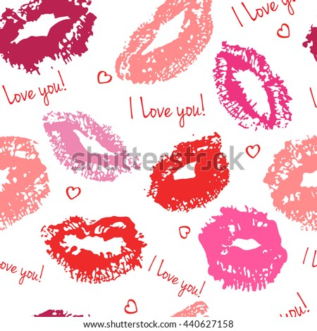 Seamless pattern with kisses. I Love you. Vector illustration. - stock vector