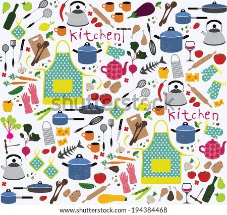 Seamless pattern with kitchen icon - stock vector