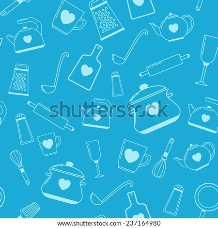 seamless pattern with kitchen items.  - stock vector