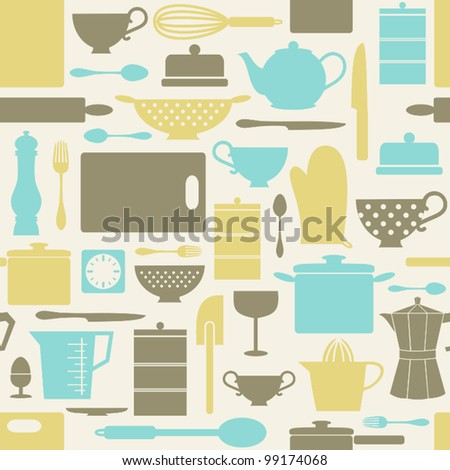Seamless pattern with kitchen items in retro style. - stock vector
