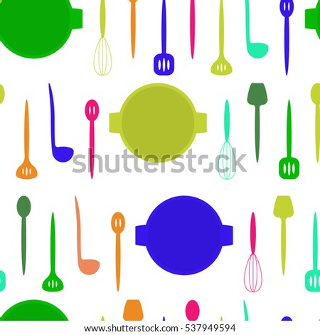 Seamless pattern with kitchen tools. Cook accessories in blue, pink, red, orange and green tones. Vector illustration.