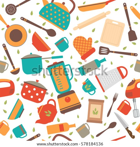 Seamless Pattern Kitchen Tools Cooking Utensils Stock Vector HD