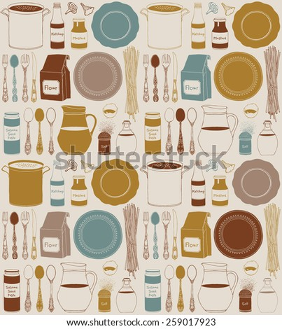 Seamless pattern with kitchen utensils and food, isolated objects. Cookware, home cooking background. Modern design. Vector illustration.