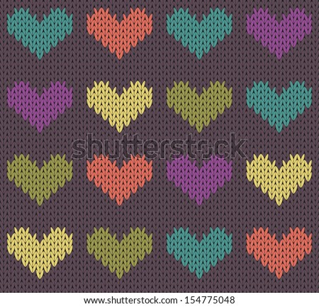 Seamless pattern with knit hearts - stock vector