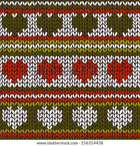 Seamless pattern with knitted stripes and hearts. The colours of Christmas - stock vector