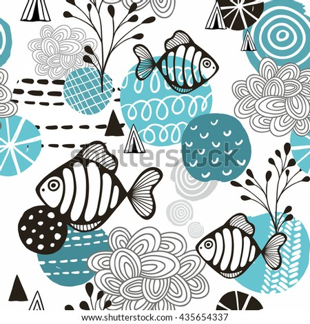 Seamless pattern with l fish in northern sea. Vector background.