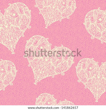Seamless pattern with lace hearts - vector