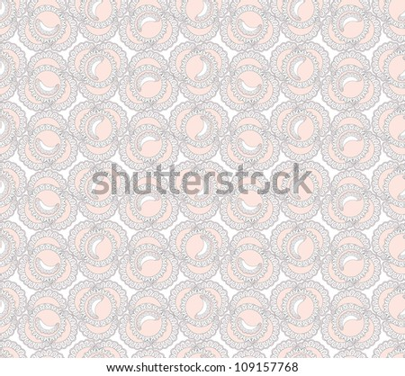 seamless pattern with lacy petals on white background - stock vector
