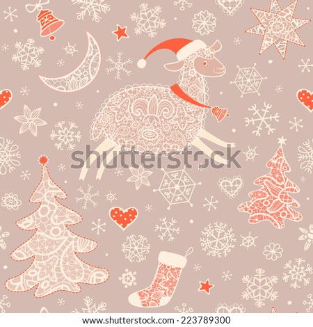 Seamless pattern with lacy sheep, xmas tree, moon, stars, bell and snowflakes .Christmas background, greeting card. Vector illustration.