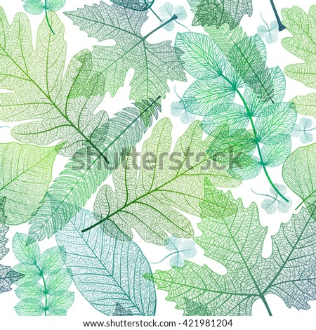 Seamless pattern with leaf, green leaves background. Vector illustration, EPS10. - stock vector