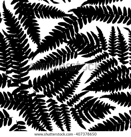 Seamless pattern with leafs tropical fern palm for fashion textile or web background. Black silhouette on white background. Vector - stock vector