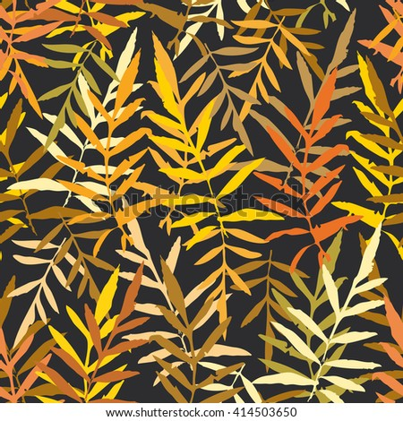 Seamless pattern with leafs tropical fern palm for fashion textile or web background. Gold yellow mustard orange brown silhouette on Black background. Vector - stock vector