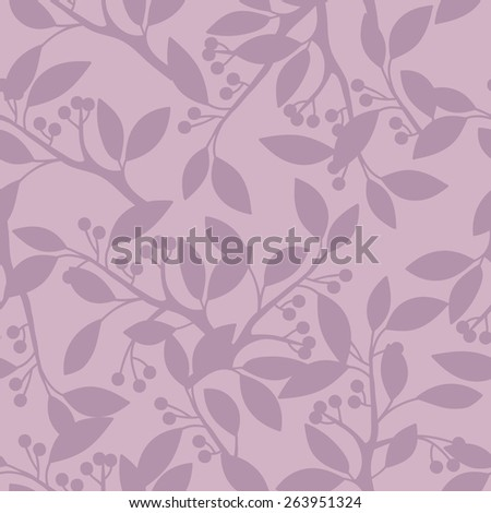Seamless pattern with leaves and berries. - stock vector