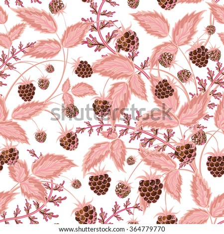Seamless pattern with leaves and raspberry. Background for your design with bright, contrasting brown berries and pink leaves. Vector illustration. - stock vector