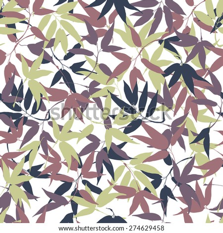 Seamless pattern with leaves bamboo. - stock vector