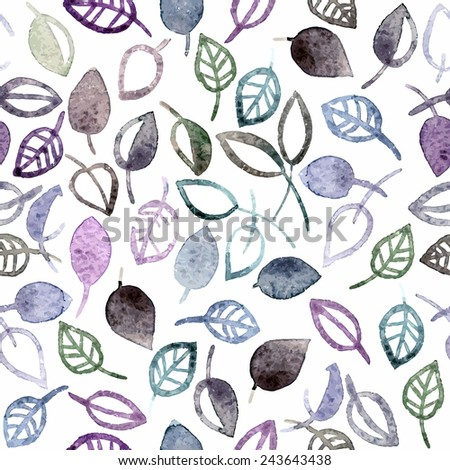 Seamless pattern with leaves. Birthday floral card. Floral watercolor floral background. - stock vector