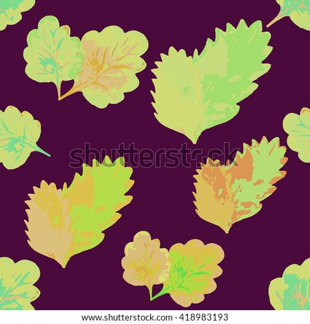 Seamless pattern with leaves on a maroon background vector illustration